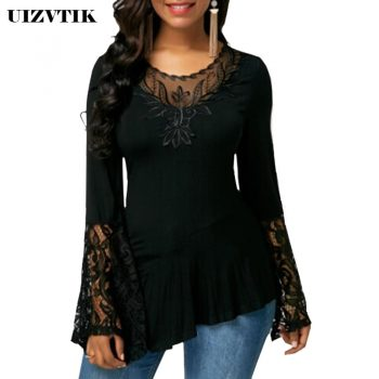 Irregular Women T-Shirt Autumn Summer Hollow Out Lace blusas poleras mujer de moda 2020 Vintage Plus Size Womens Tops harajuku