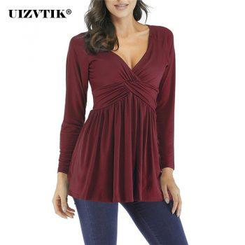 Women T-Shirt Spring Sexy V Neck Long blusas poleras mujer de moda 2020 Vintage Plus Size Loose Womens Tops harajuku ropa mujer