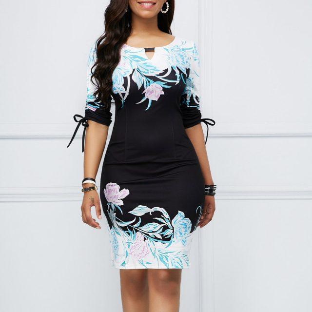 Summer Dress Women 2020 Casual Plus Size Slim Floral Print Office Pencil Bodycon Dresses Vintage Sexy Mini Party Dress Bow 5XL
