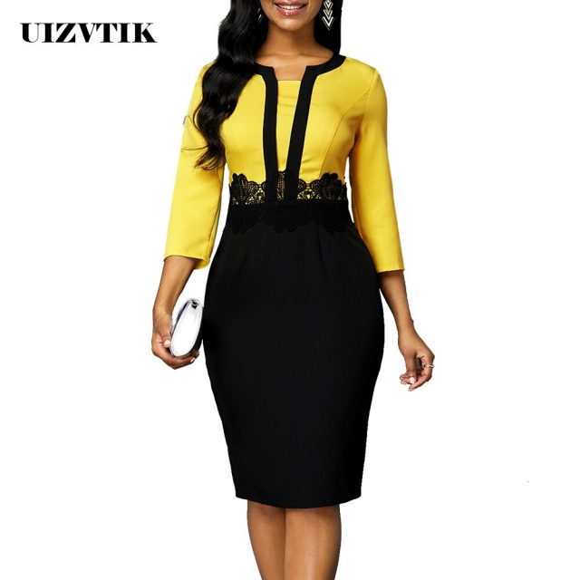 Patchwork Black Lace Dress Women Autumn Summer 2020 Casual Plus Size Slim Office Bodycon Dresses Vintage Sexy Split Party Dress