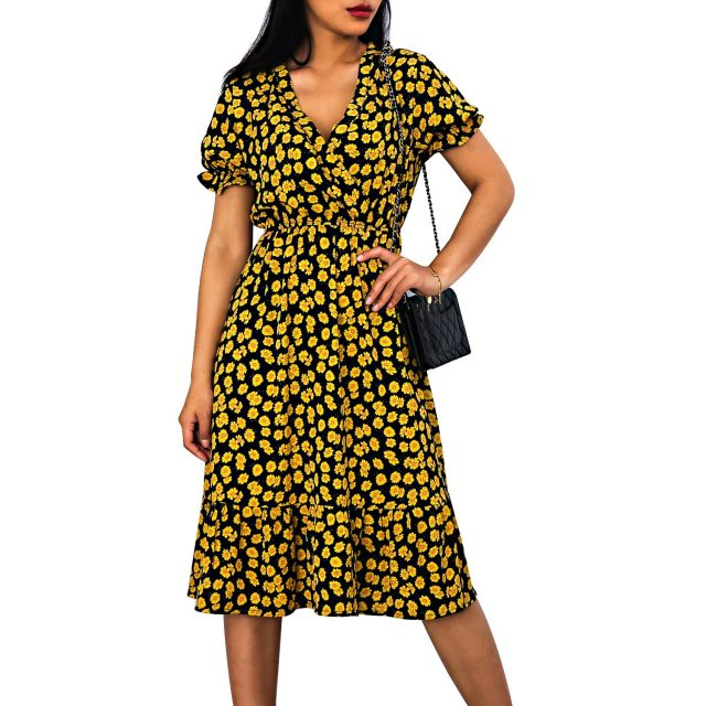 Woman Dress Casual V Neck Chiffon Boho Beach Long Summer Dress Women robes 2020 Vintage Sexy Slim Yellow Floral Party vestidos