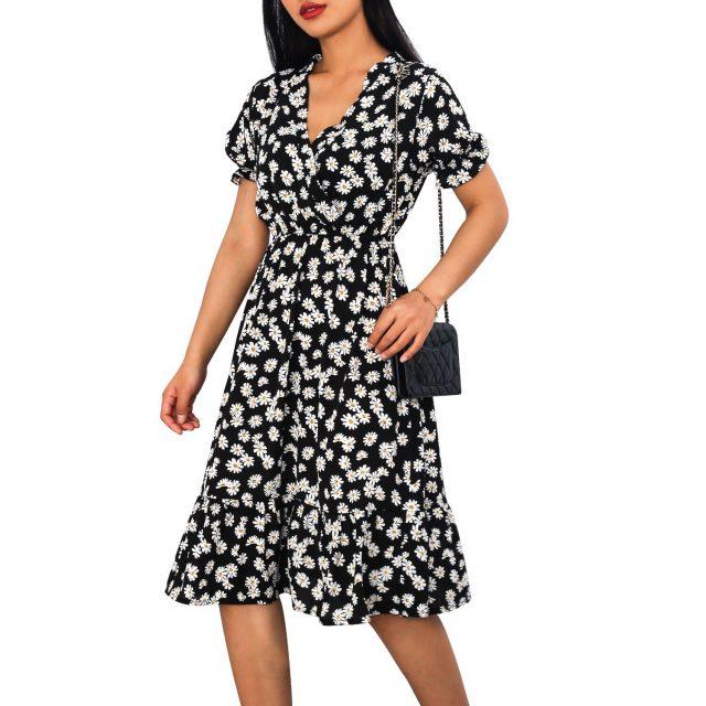 Woman Dress Casual V Neck Chiffon Boho Beach Long Summer Dress Women robes 2020 Vintage Sexy Ruffles Small Daisies Party Dresses