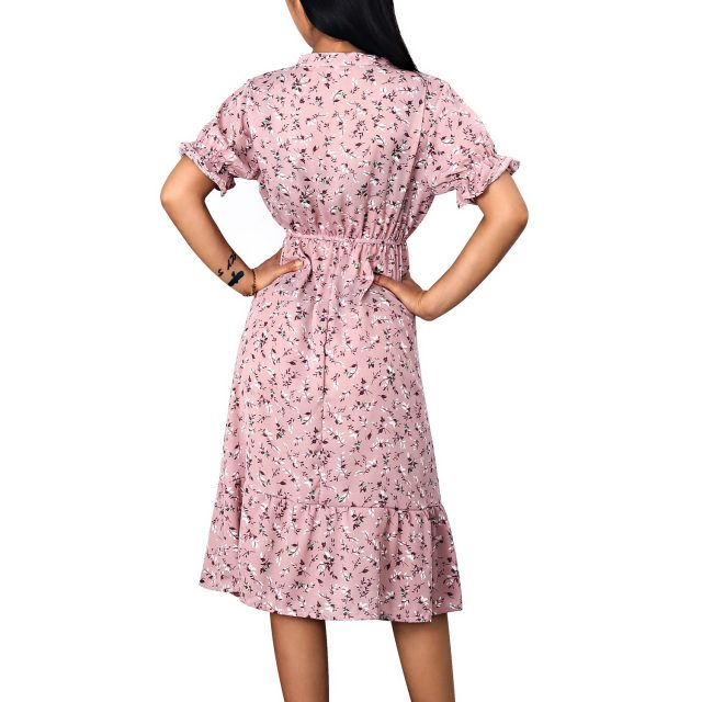 Woman Dress Sexy V Neck Chiffon Boho Beach Long Summer Dress Women robes 2020 Vintage Casual Slim Ruffles Floral Party vestidos