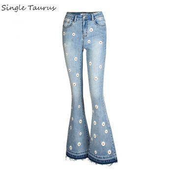 Streetwear Bellbottom Jeans for Women Fashion Blue Jeans Wide Leg Denim Pants Vintage Bleached Embroidery Bootcut Flare Jean