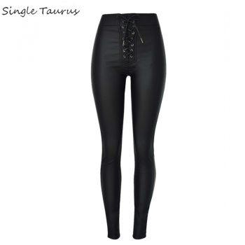 Push Up Slim Black Leather Pant Women Fashion Metal Opening Strap Bandage High Waist Coated Denim Mujer High Street Punk Legging