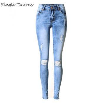 2020 Spring Washed Bleached Skinny Jeans Elasticity Slim Denim Pants Pantalon Femme Vintage Hole Blue Ripped Jeans for Mujer