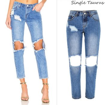 Boyfriend Jeans for Women Fashion High Street Hollow Out Knee Hole Ripped Jeans Low Waist Loose Straight Denim Vaqueros Mujer