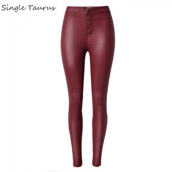 2020 High Waist Leather Pants Women Fashion Push Up Skinny Coated Denim Woman PU Pantalon Femme Red Black Pencil Pants Trousers