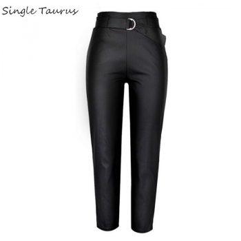 Black Leather Pants Women Streetwear PU Ropa Mujer High Waist Coated Denim Pantalon Femme Sexy Fall Winter Fashion Leather Pants