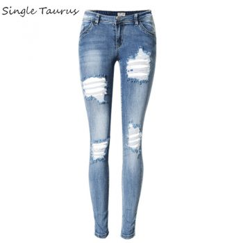 2020 Low Waist Blue Scratched Jeans Women Fashion Hole Distressed Ripped Jeans Femme Push Up Bleached Vintage Pantalones Mujer