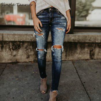2020 Spring Fashion Bleached Ripped Jeans Women Cotton Denim Slim Elasticity Skinny Pants Moustache Effect Vintage Jeans Femme