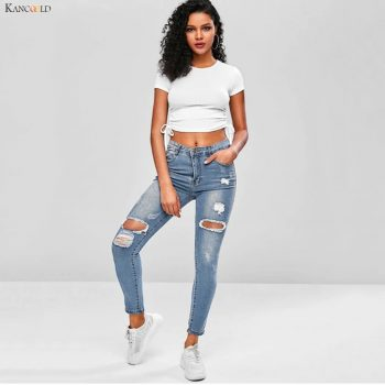 KANCOOLD pants Women Fashion Hole Pocket Wild Slim Fit Tight Pencil Pants Skinny Zipper Mid Casual sexy new jeans woman 2019Oct7