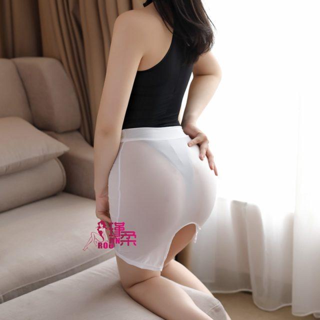 Sexy High Cut Tight Pencil Cute Skirt Ice Silk See Through Micro Mini Skirt Transparent Night Club Skirt Fantasy Erotic Wear F14