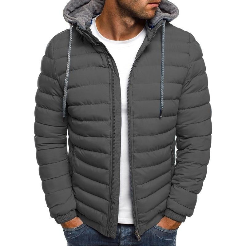 fa8462c00 ZOGAA Men Winter Parkas Jacket Fashion Solid Hooded Coat Jackets Zipper  Cotton Casual Warm Clothes Overcoat Streetwear Parka Men
