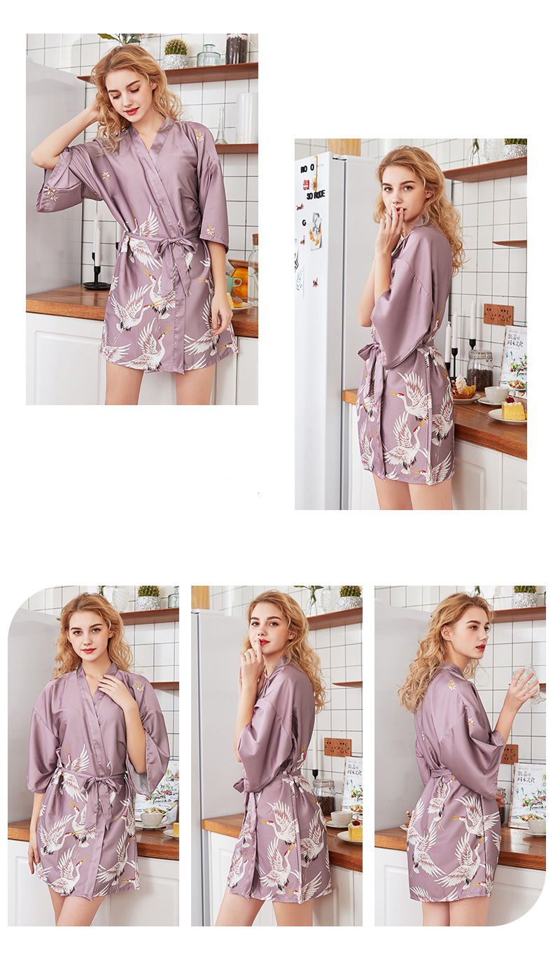 Fashion Women's Summer Mini Kimono Robe Lady Rayon Bath Gown Yukata Nightgown Sleepwear Sleepshirts Pijama Mujer Size M-XXL