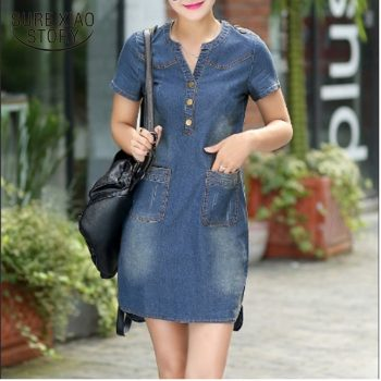 2016 new arrival summer women  dresses short sleeves  A word dresses plus sizes v-neck solid causal fashion  dresses 176A 25