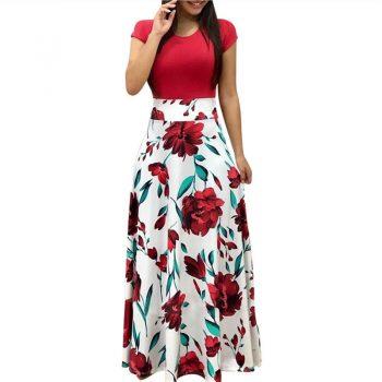 2018 Long Dress Women Summer Boho Beach Patchwork Floral Print Short Sleeve Dress Fashion Elegant Ladies Party Maxi Dresses