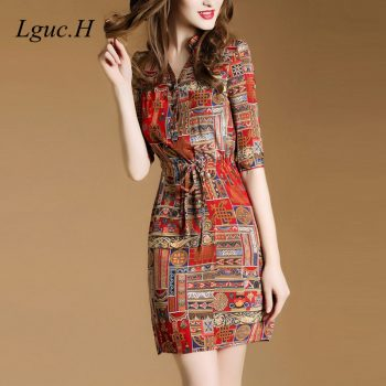 Lguc.H 1/2 Sleeve Vintage Bandage Dress 2019 Silk Chiffon Dress Summer Midi High Waist Shirt Dress Luxury Social Dress Women XL