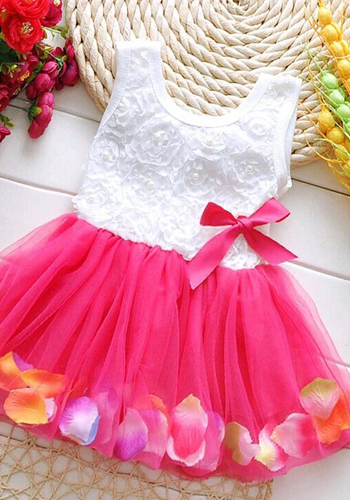 TANGUOANT Kids Baby Girls Beautiful Flower Dress Princess Summer Sleeveless Mini Tutu Dress Pink Yellow Red Baby Girls Dress