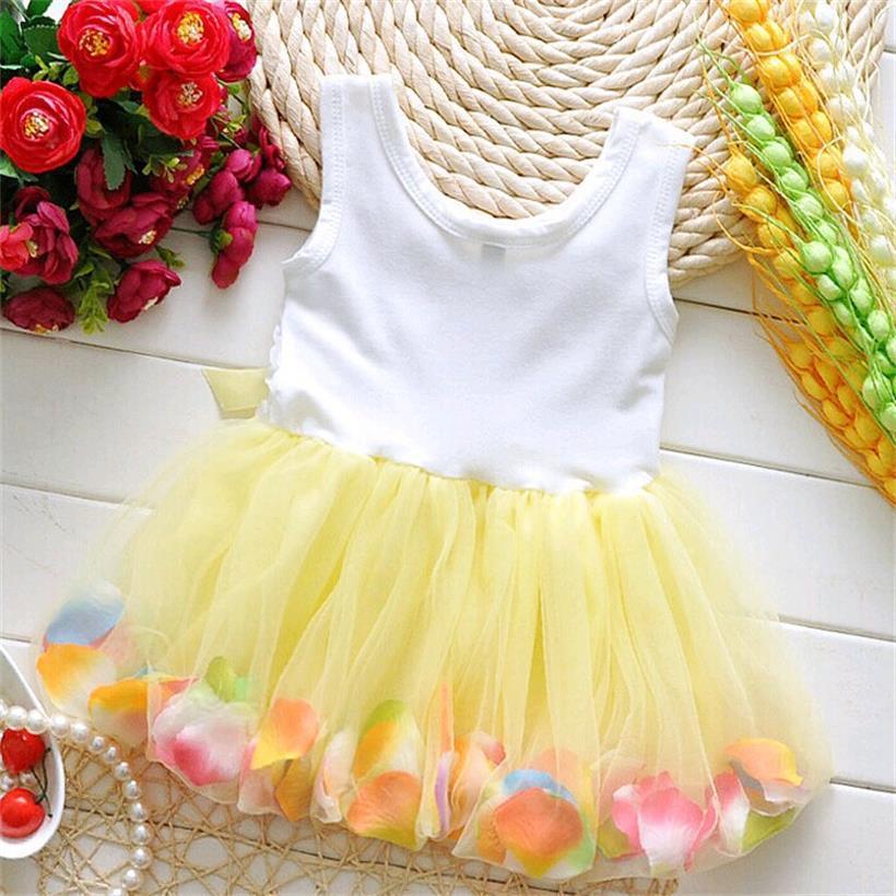 TANGUOANT Kids Baby Girls Beautiful Flower Dress Princess Summer Sleeveless Mini Tutu Dress Pink Yellow Red Baby Girls Dress