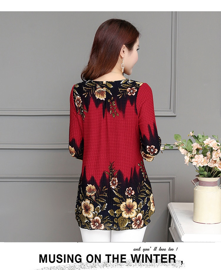 2019 New Arrival Fashion Summer Three Quarter Slim floral long Shirt Female Casual Slim Color Plus Size elegant Printed Blouse