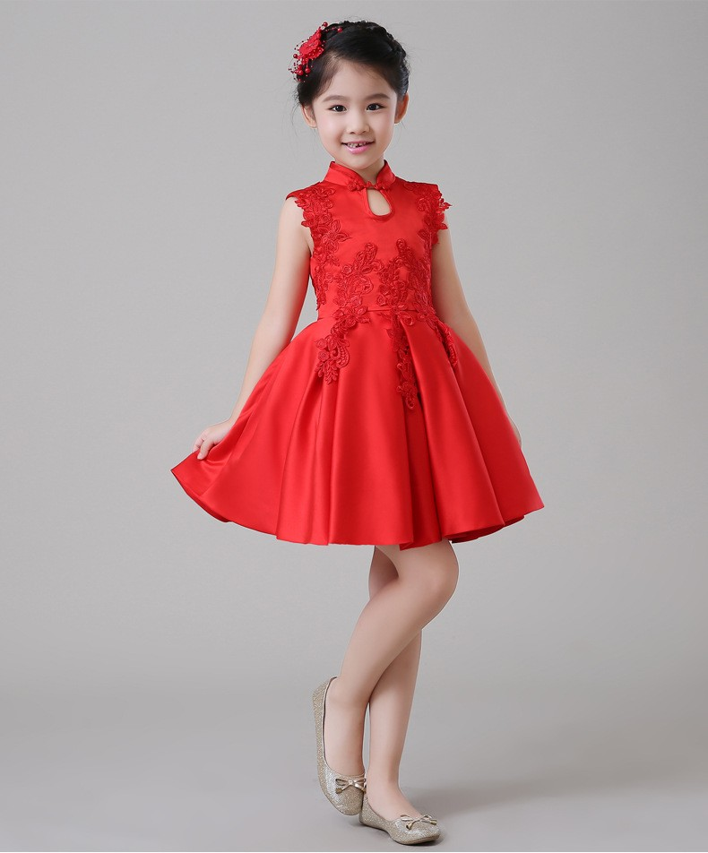 2018 Spring New Girls Cheongsam Princess Dress Flower Girl Birthday Costumes Embroidered Flower Tutu Dress or With wrap 2pcs