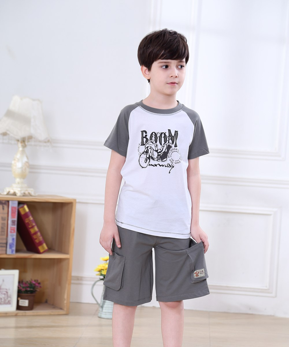 LeJin Children Boys Clothing Set Kids Clothes Kids Costume Suit Costumes for Boys Casual Wear Shorts for Summer in 100% Cotton