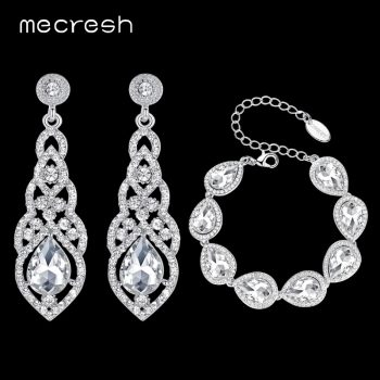 Mecresh Clear Crystal Bridal Jewelry Sets Teardrop Bracelet Earrings Sets Wedding Jewelry for Women Classic Style EH444+SL051