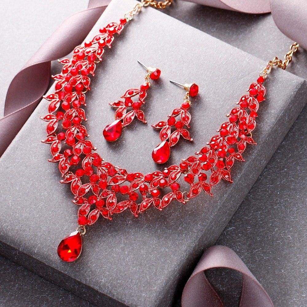 Tuliper Leaf Teardrop Bridal Necklace Earrings Set Austrian Crystal Rhinestone Wedding Jewelry Set Women Party Best Gift