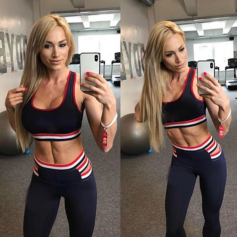 Women Yoga Sets Tracksuit Sexy Gym Wear White Red Striped Crop Tank Top Leggings Running Clothing Fitness Sportswear Sport Suit