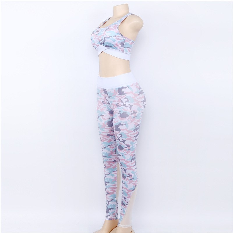 Women Yoga Set Sexy Fitness Tracksu Blue White Camouflage Sportswear Gym Wear Running Clothes Sport Suit Tank Top Leggings Pants