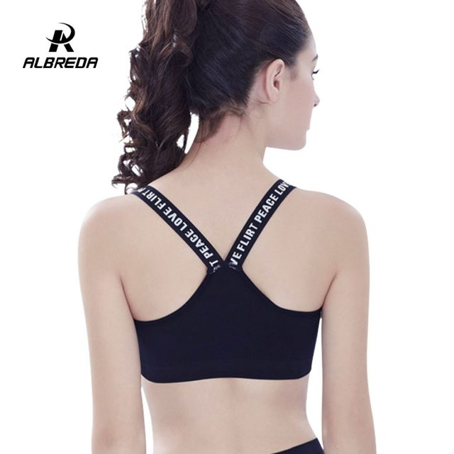 ALBREDA New Style Fitness Women Sports Bra Yoga Padded Crop Top Gym Workout Sexy bras Running Quick drying Vest Clothing Female