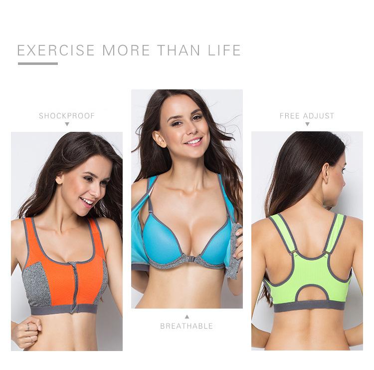 Double Layer Zipper Sports Bra Ladies Fitness Yoga Bra Push Up High Padded Shirt Underwear Running Vest Gym Exercise Sportswear