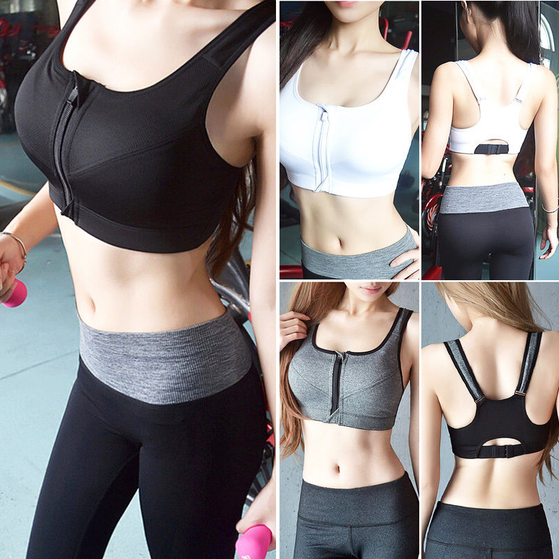 7 Color Fitness Yoga Push Up Sports Bra Women Gym Running Padded Tank Top Athletic Vest Underwear Shockproof Zipper Sport Bra