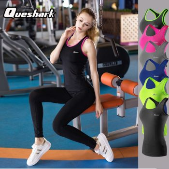 Queshark Professional Women Yoga Shirts Quick-drying Fitness Tank Top Slim Workout Yoga Clothes T-shirt Running Gym Jogging Vest