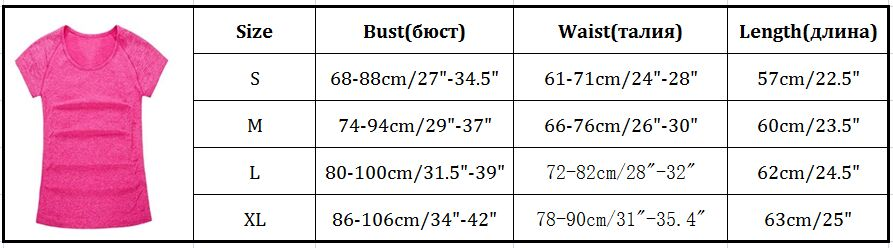 Quick Dry Slim Fit Sports T-shirts For Fitness Gym Yoga T-shirt Stretched Workout Tights Tops Yoga Shirts Women Clothes XL