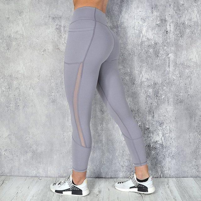 Pocket Solid Sport Yoga Pants High Waist Mesh Sport Leggings Fitness Women Yoga Leggings Training Running Pants Sportswear Women
