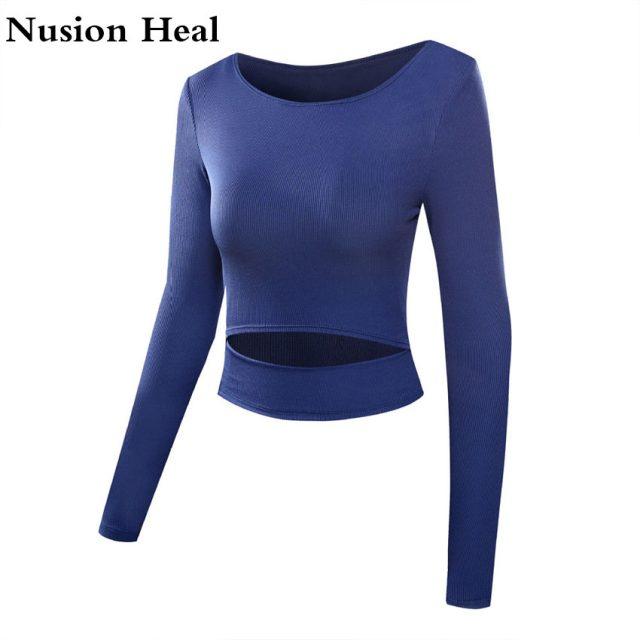 Women's Fitness Yoga Shirts Top Full Sleeve Top Shirts Back Sweatshirt Workout Tee Yoga Running Top Activewear Sports Clothing