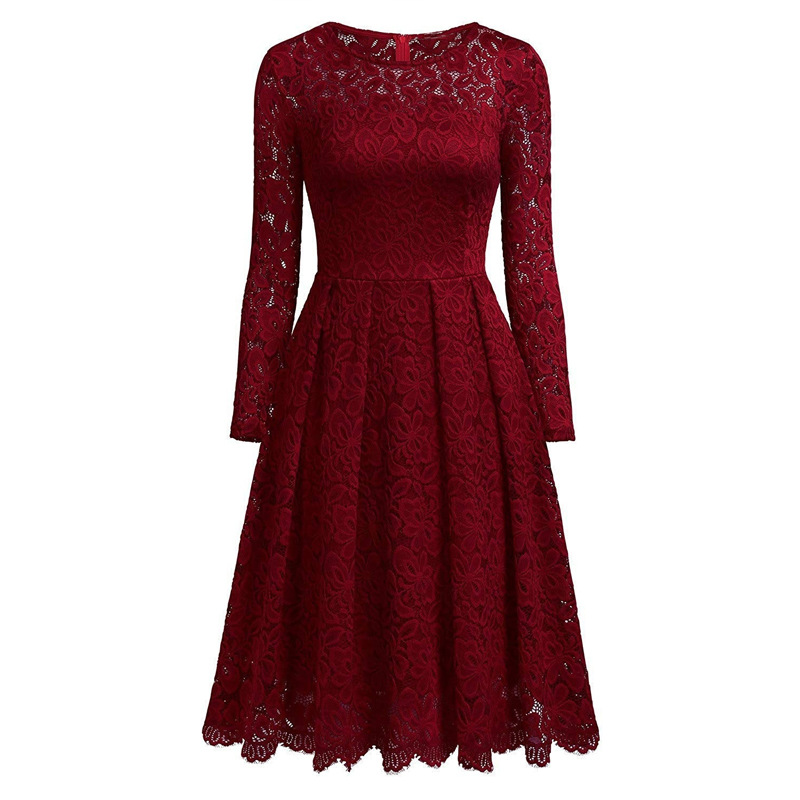Women's Vintage Long Sleeve O Neck Slim Swing A Line Dress Floral Lace Cocktail Party Dresses