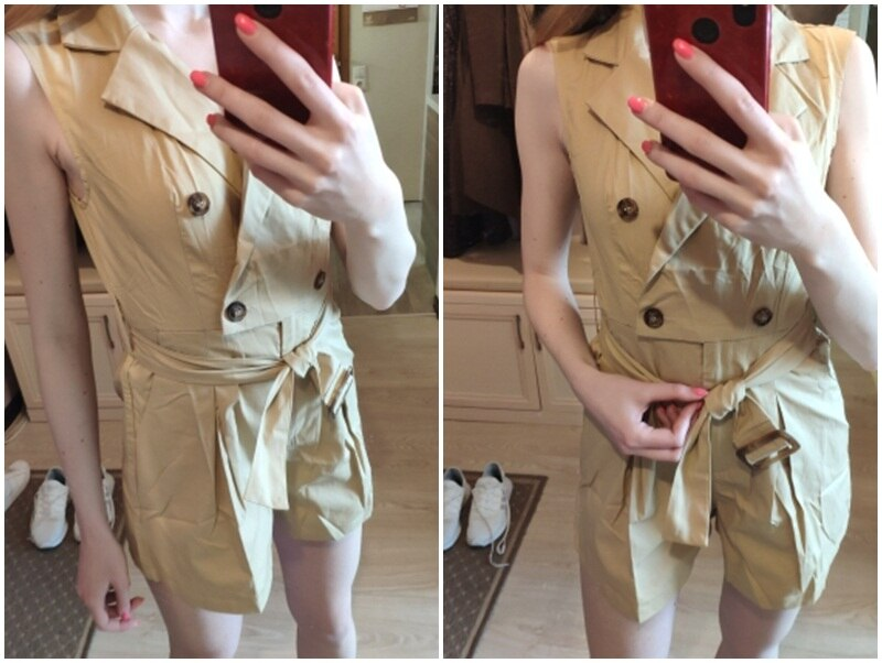 Simplee Elegant sashes khaki cotton women playsuit Summer pockets button zipper rompers short jumpsuit Office ladies overalls