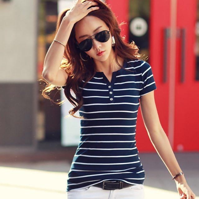Women Tshirt Summer Female T Shirt Cotton White Striped Slim 2019 Short Sleeve Lady Top Tee Shirt Femme Sexy V-neck Plus Size T0