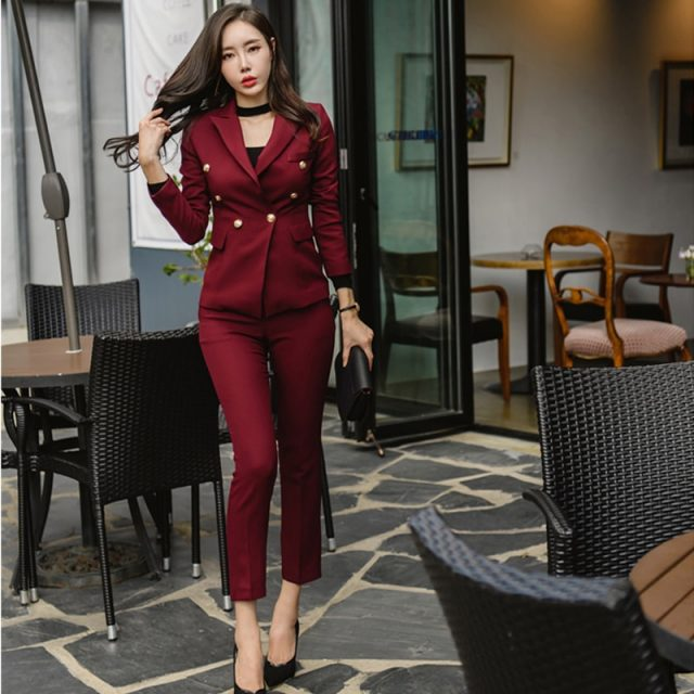 Sexy Wine Red Slim Style Women Pant Suits Slim Waist Buttons Blazer Jacket & Pencil Pant OL Style Women Set 2019 Spring