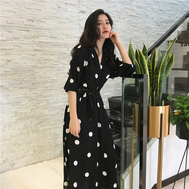 SuperAen Summer Women's Dress Korean Style Fashion V-neck Ladies Long Dress Casual Half Sleeve Dot Dress Female New 2018