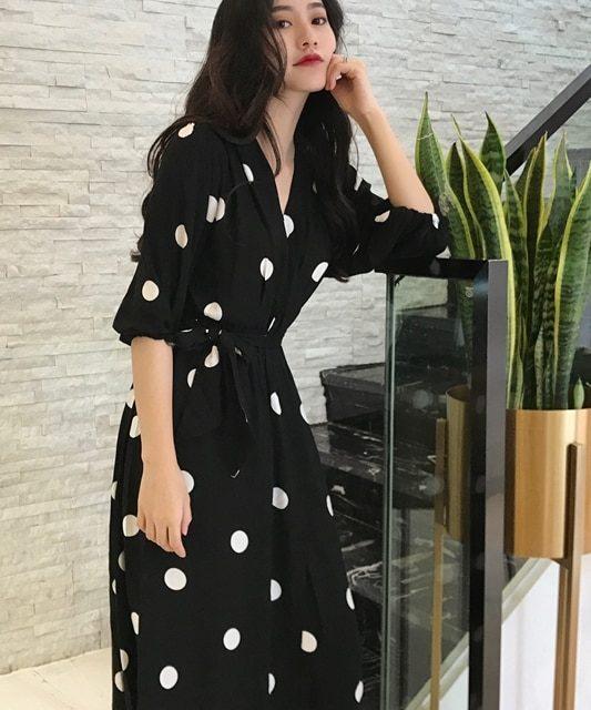 SuperAen Summer Women's Dress Korean Style Fashion V-neck Ladies Long Dress Casual Half Sleeve Dot Dress Female New 2018
