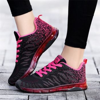 Comfortable Gym Sport Shoes Female Stability Athletic Fitness Sneakers Flying Woven Air Cushion Net Shoes Women Sport Shoes
