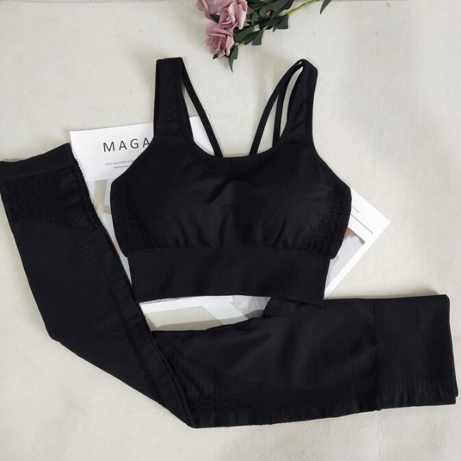 2PCS Seamless Yoga Suits Women Energy Gym Fitness Clothing High Waist Leggings+Bra Yoga Sets Training Sport Running Sportswear
