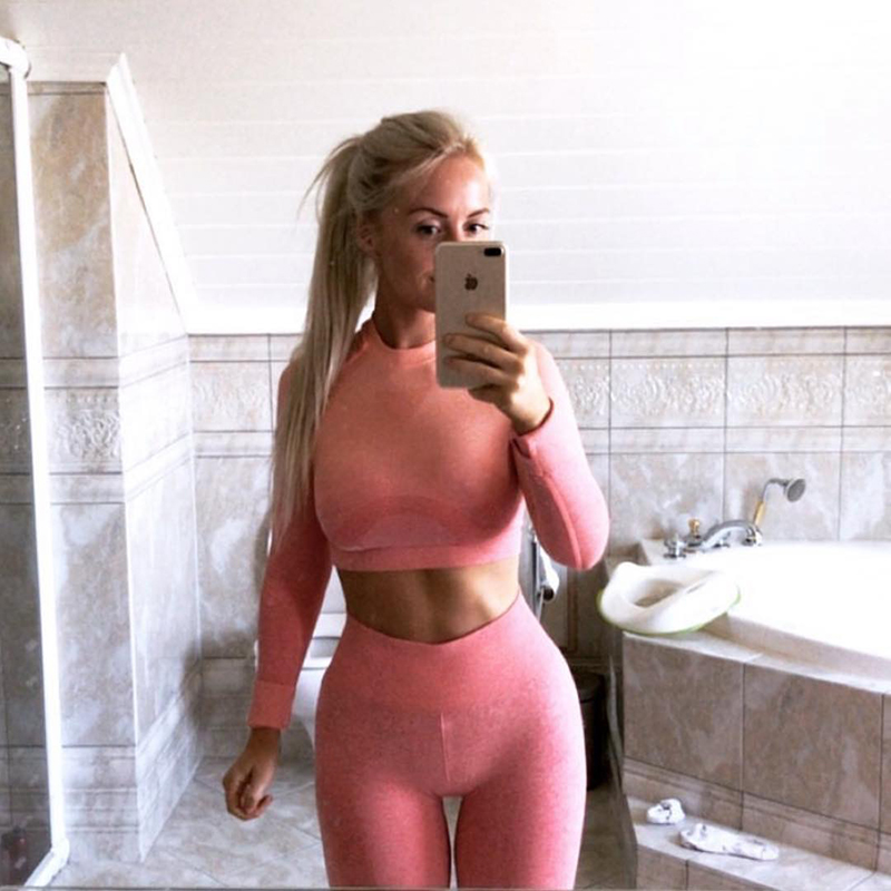 2 Pcs Yoga Set Women Long Sleeve Crop Top And High Waisted Tummy Control Sport Leggings Gym Clothing Ombre Seamless Sport Suit