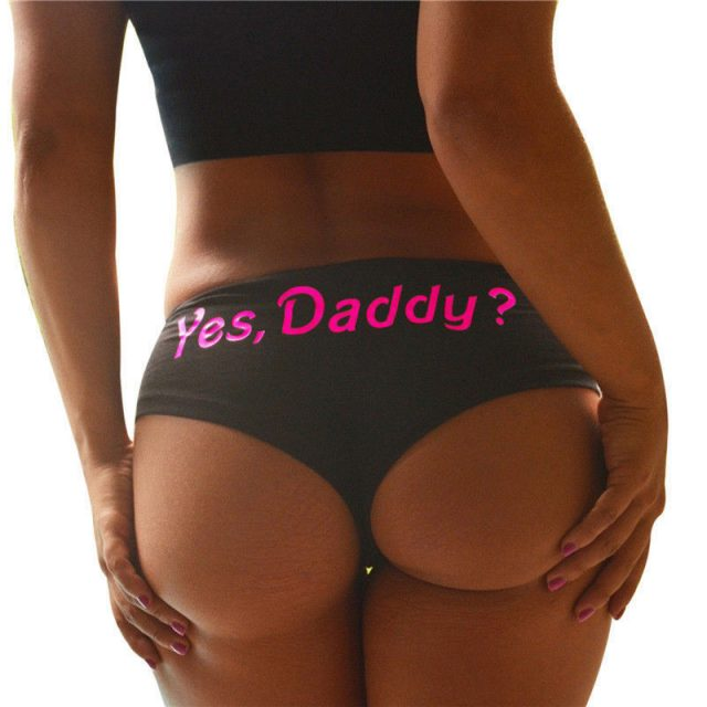 2019 Sexy Panties Women Yes Daddy? Letter Print Underpants Seamless Lingerie Briefs Knickers Underwear Cotton Panties