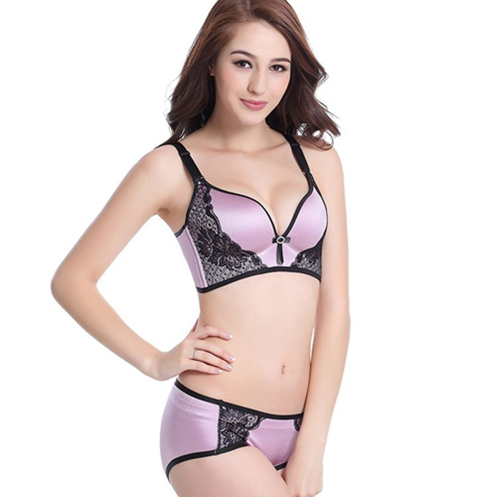 Top quality Fashion women girls' printing push up one-piece seamless 3/4 cup bras for women designer unique sexy ladies bras set