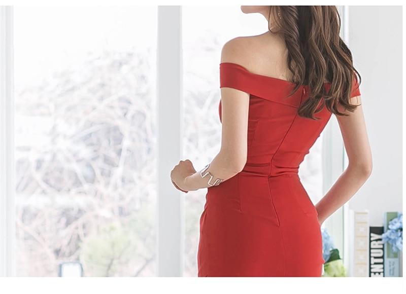 Sexy Off-shoulder Ruched Women Dress 2019 Slim Waist Irregular Female Dress Elegant Summer Package Hip Vestidos femme